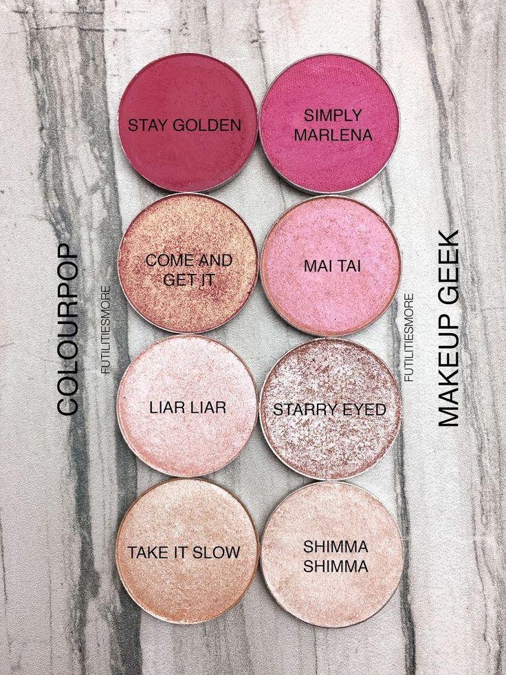 PINKS: Colourpop VS Makeup Geek Eyeshadows swatches