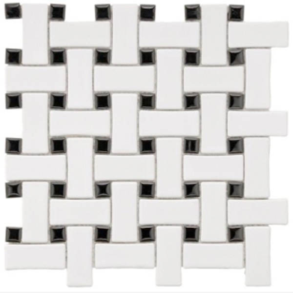 You'll never regret picking a classic floor tile for your bathroom update, like black-and-white basket weave! #tile