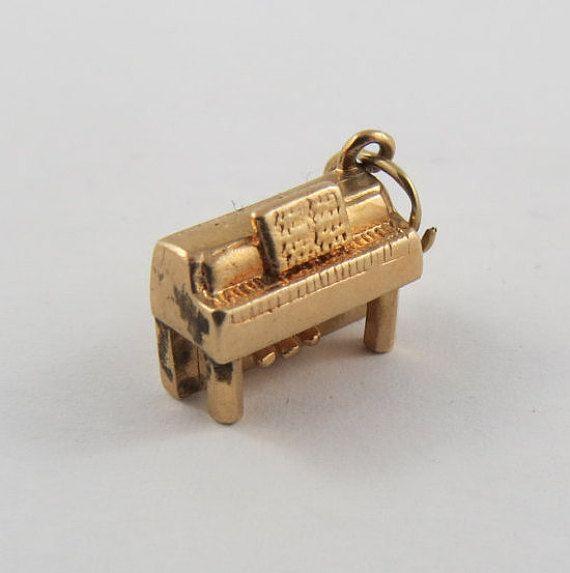 Piano 10K Gold Vintage Charm For Bracelet by SilverHillz on Etsy