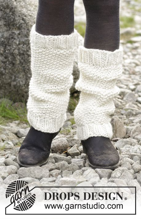 Be a Lamb  - Leg warmers with moss stitch. Piece is knitted in DROPS Eskimo. Free knitted pattern DROPS 182-29