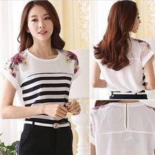 Grátis frete 2015 mulheres Blusas o-pescoço manga curta camisas casuais flor impresso Striped Chiffon blusa Blusas Femininas(China (Mainland))