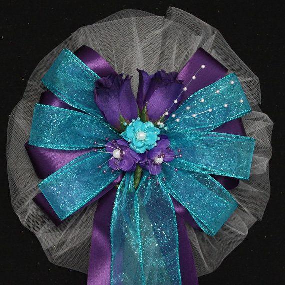 Purple Rosebuds Turquoise Wedding Pew Bow