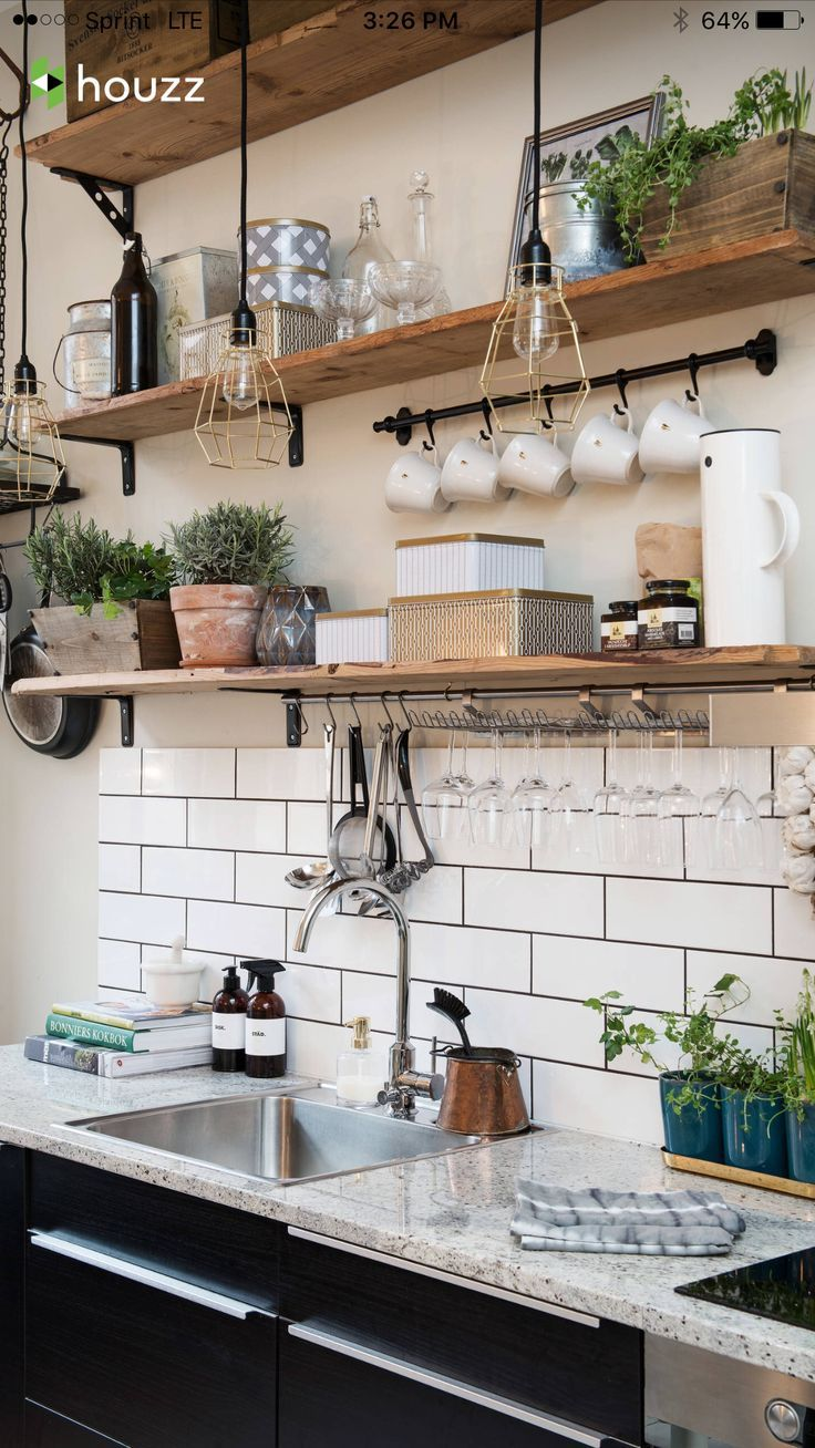 Classic Kitchen White Subway Tile Dark Grout Open Wood Shelves Black Lower Cabinets Beautiful Kitchen Designs Kitchen Decor Kitchen Design