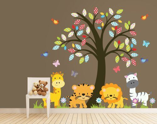Zoo Animals - Nursery Tree Wall Decal - Jungle Animals Decal by Wall Decal Source, http://www.amazon.com/dp/B00CZFRASI/ref=cm_sw_r_pi_dp_r2G3rb019CNT7