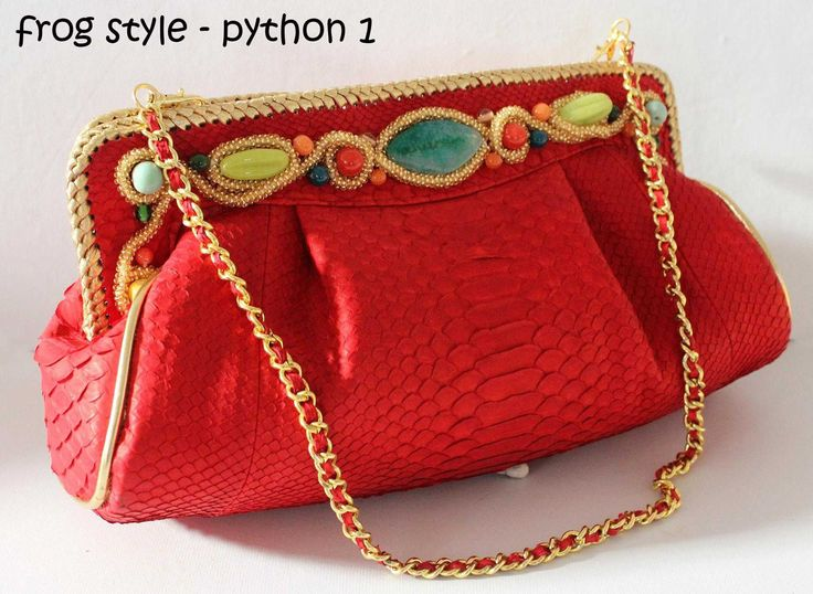 Python leather clutch $165 Facebook : balinesian ethnic purses