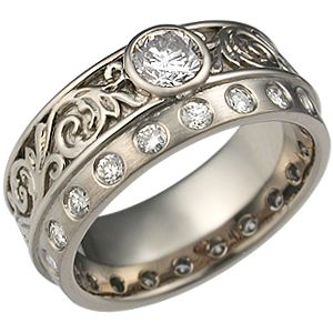 I like the recessed, bezel and flush set stones in this ring, since I work with my hands a lot
