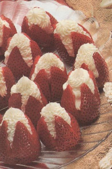 strawberry-appetizers - use recipe  with cream cheese or use can of whipped cream to fill - they will disappear fast!