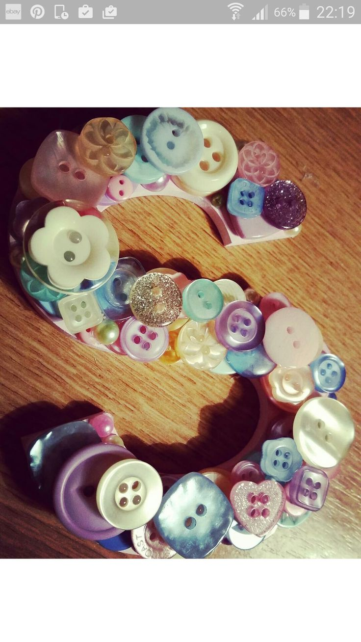 Button letter 'S' (pre-mount) in summer pastel mix ♡ The Little Button Mill