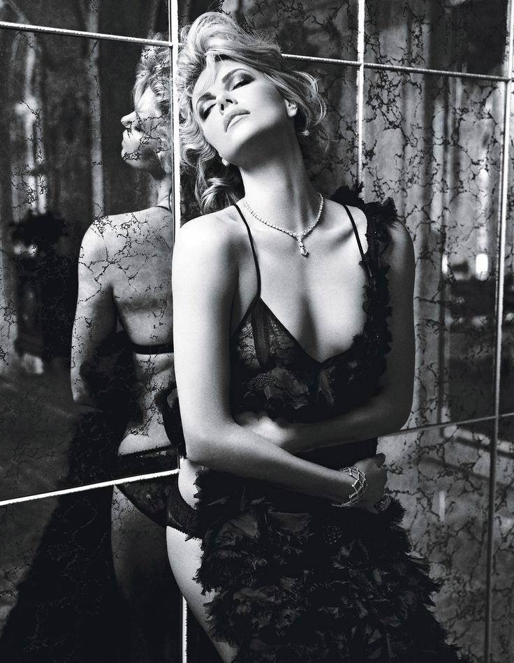 Charlize in black and white. Photograph by Mario Sorrenti; styled by Edward Enninful; W magazine February 2012.