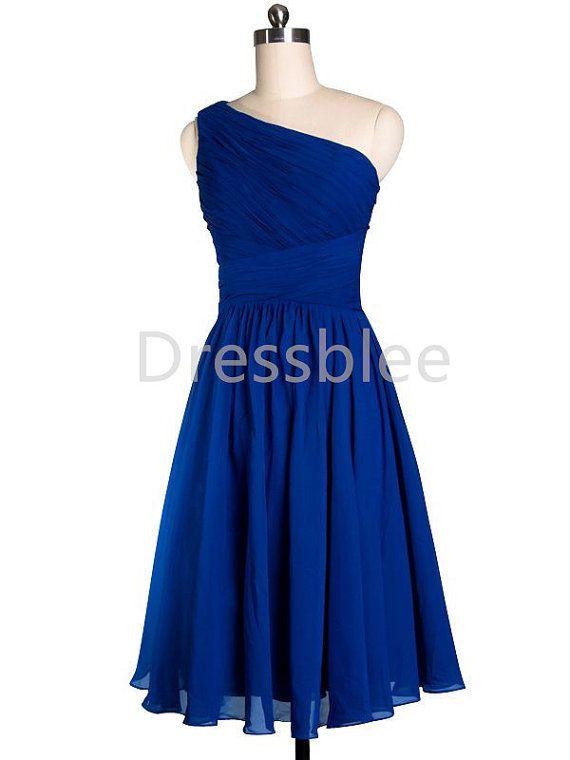 Bridesmaid Dress One Shoulder Short Blue Chiffon by DressbLee, $89.00