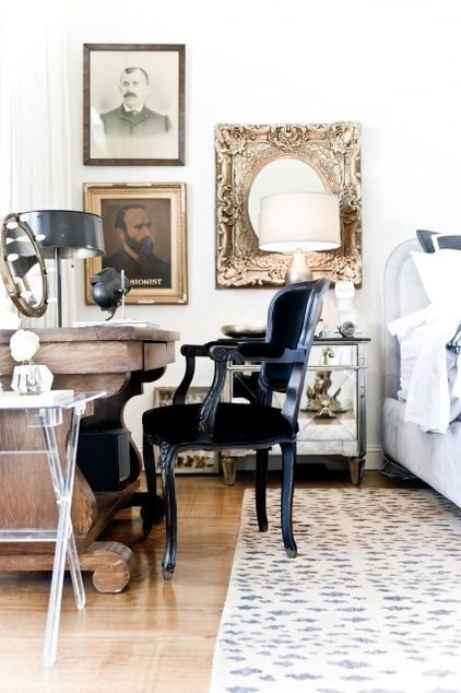 Love the black chair . . . would go well with my vintage, 'distressed' teak table/desk.  Or any dark color would work . . . deep brown velvet . . . or true navy velvet with silver nailhead trim.
