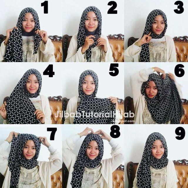 tutorial cara pakai hijab pashmina motif kotak-kotak