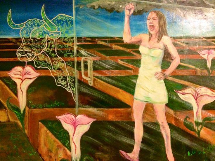 Knocking on heaven's door,  Acrylics on canvas, 100x70 cm, Margarita Vid, 2015