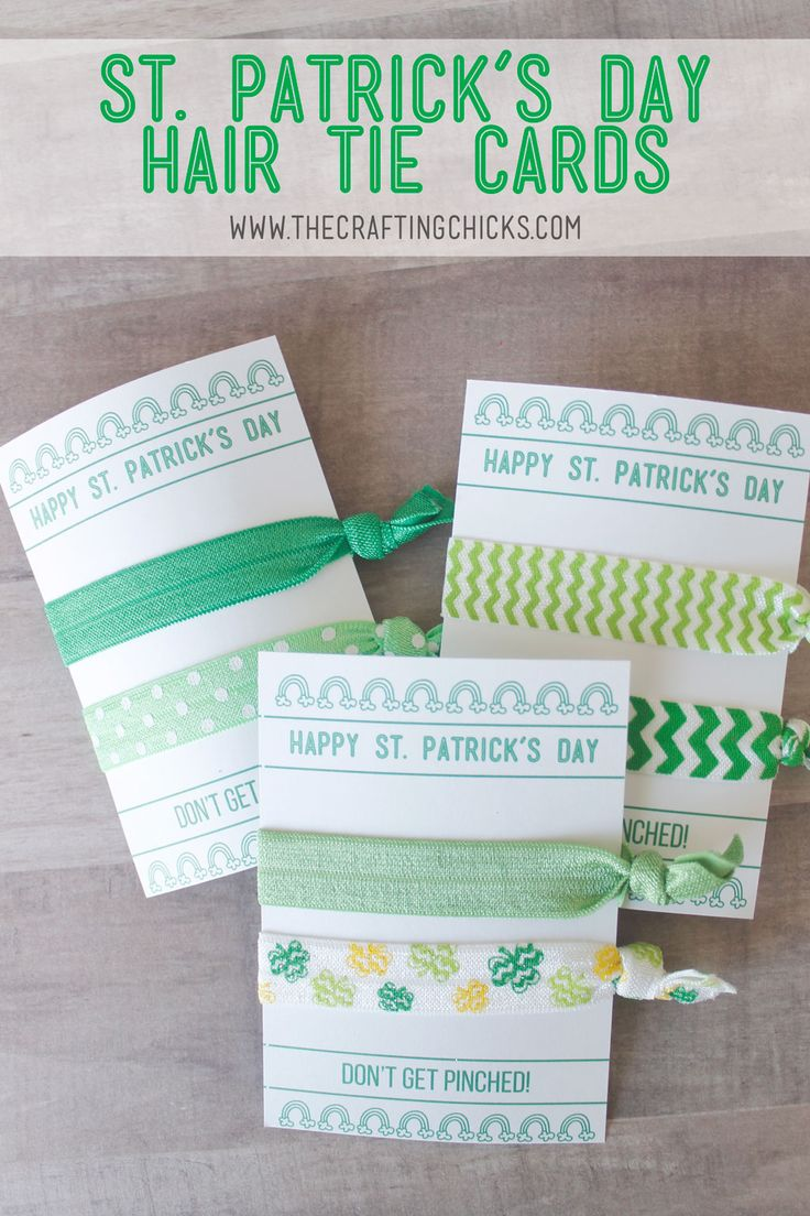 St. Patrick's Day Hair Tie Cards are a fun gift idea. Keep your friends from getting pinched by giving them these fun St. Patrick's Day themed hair ties.