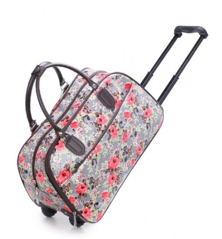 Grey Flower Print Weekend Travel Luggage Bug - The Handbag Hut - £30 and free delivery
