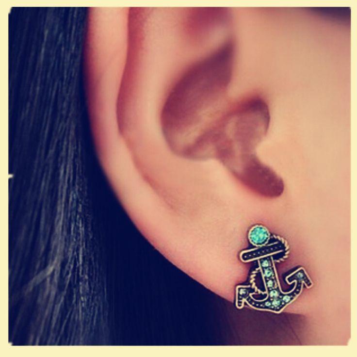 184 Hot Brincos New 2017 Girls Earing Pendientes Mujer Bijoux Vintage Anchor Stud Earrings For Women Jewelry Earings Wholesale