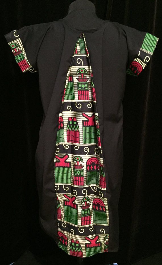 Medium Black Shift dress with Red and Green Afro comb by ChicNtoma