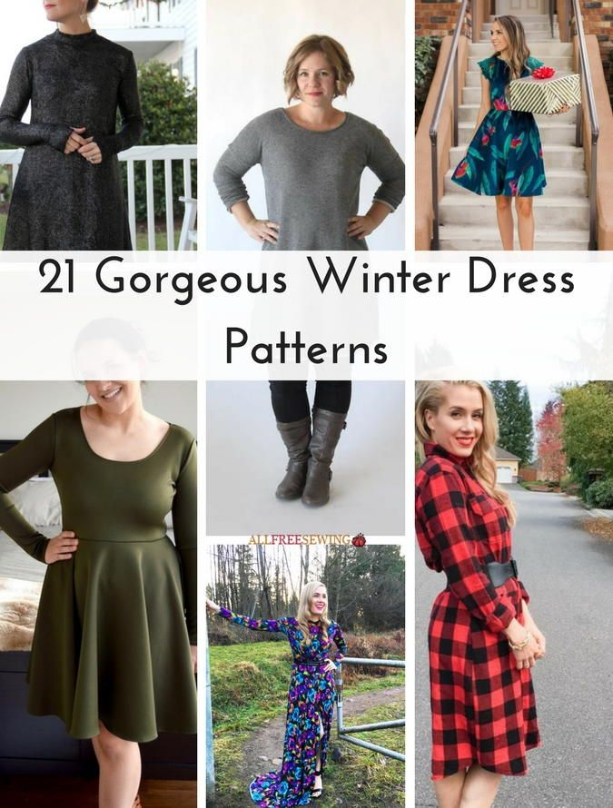 21 Gorgeous Winter Dress Patterns Ready For Cold Weather Don T Miss These Gorgeous Winter Long Sleeve Dress Pattern Sewing Clothes Women Pattern Dress Women