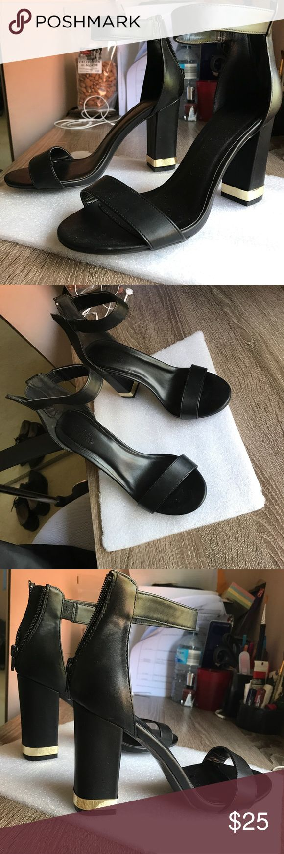 Black Charlotte Russe Heels with gold accents. Black Heels with gold accents in a size 8 (Women). Worn once ( for 4 hours only to be specific). Charlotte Russe Shoes Heels