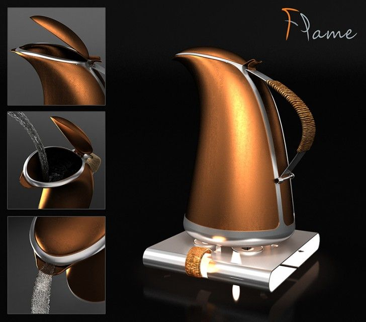 Hakan Gursu's Unique Flame Stovetop Kettle Heats Water Up in a...