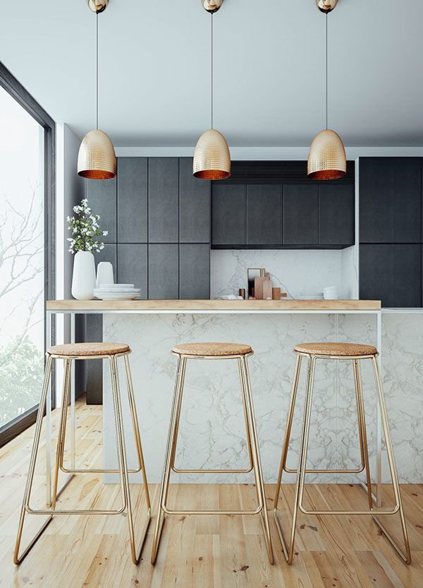 Beautiful modern kitchen with copper pendants and barstools--repin via Style Carrot