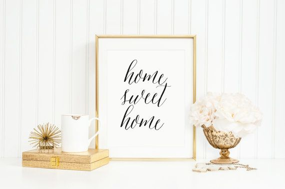 Home Sweet Home Typography Art Print by MooseberryPaperCo on Etsy