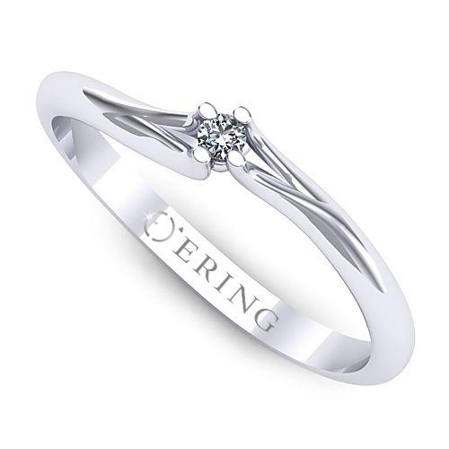 Inelul este realizat din aur alb 14k, greutate: ~1.30gr.                                     Produsul are in componenta sa: 1 x diamant, dimensiune: ~1.80mm, greutate: 0.02ct , forma: round