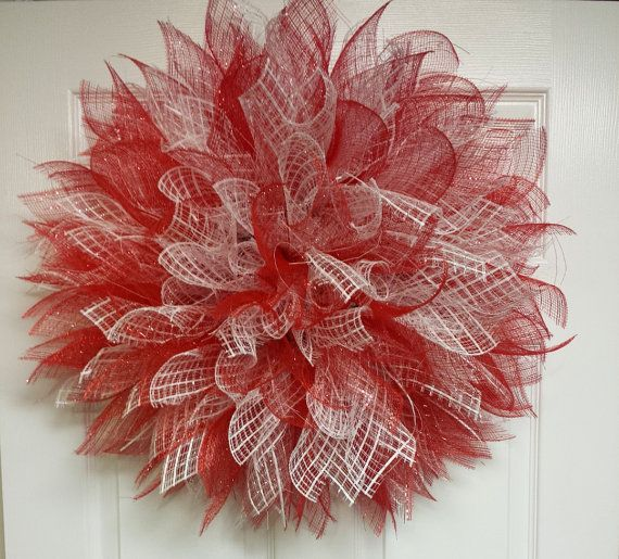 patriotic wreath mesh ribbon wreath mesh by JamiesRibbonWreaths
