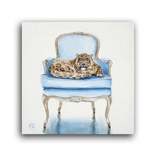 Daily Oil Painting, Cute Animal Snow Leopard, Baby Blue Bergere Chair,  Applegate