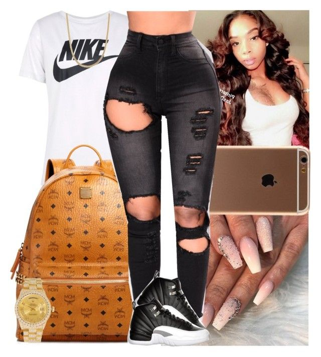 Untitled #1535 by msixo on Polyvore featuring polyvore fashion style NIKE MCM Rolex Retrò clothing