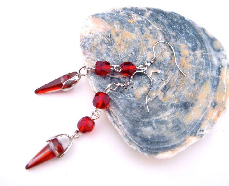 Vintage Earrings Czech Glass Silver Tone Hook Drop Dangle Long RED #Unbranded #DropDangle