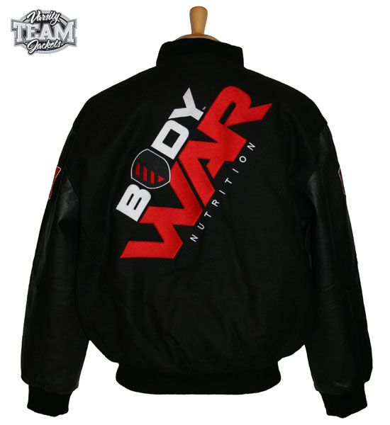 Body War Nutrition custom wool and leather varsity jacket back with embroidery by Team Varsity Jackets. www.facebook.com/TeamVarsityJackets  www.teamvarsityjackets.com.au