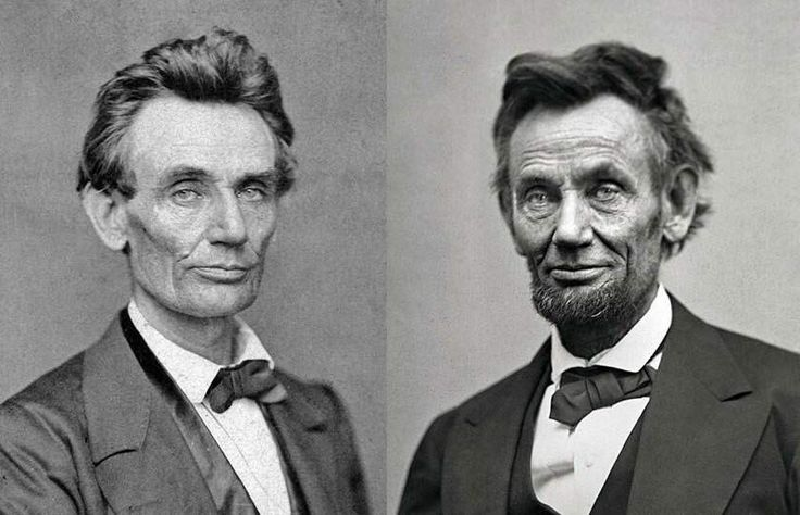 Abraham Lincoln before and after the civil war. 1860, 1865. - Visit to grab an amazing super hero shirt now on sale!