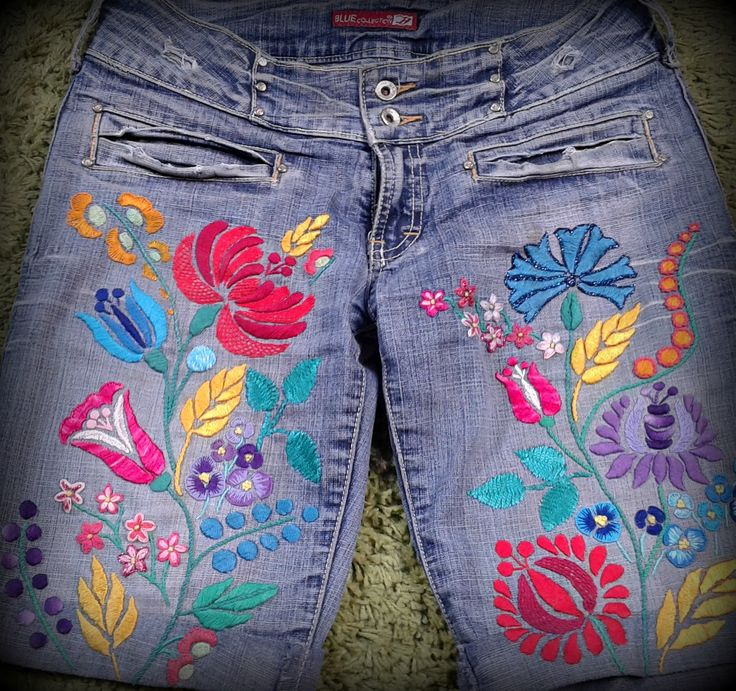old denim makeover #hand embroidery
