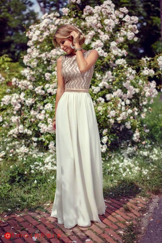pretty gold/white dress.