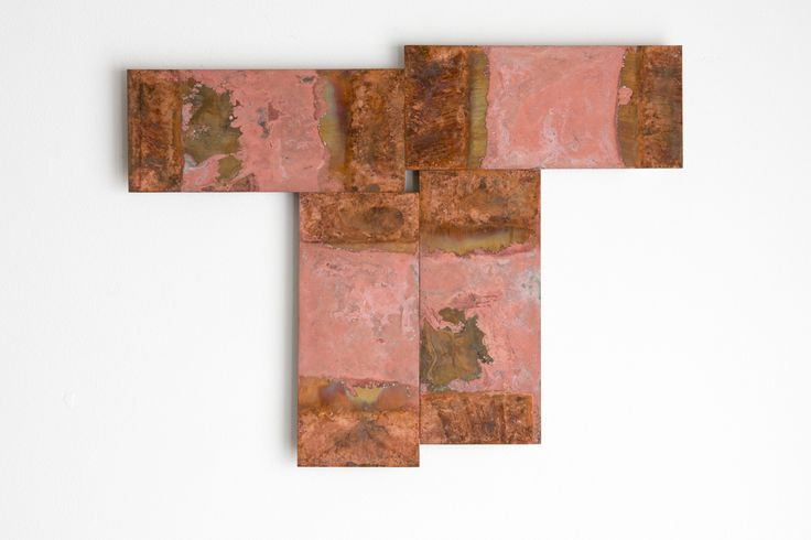 Stephen Bambury, Seven Days (VII), 2014, chemical action on four brass plates, 262 x 341 mm