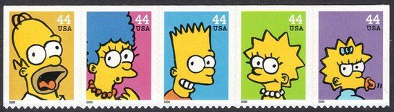 The Simpsons Post Cards Stamped w//28¢ Postage Book of 20 Bart Homer Lisa Marge