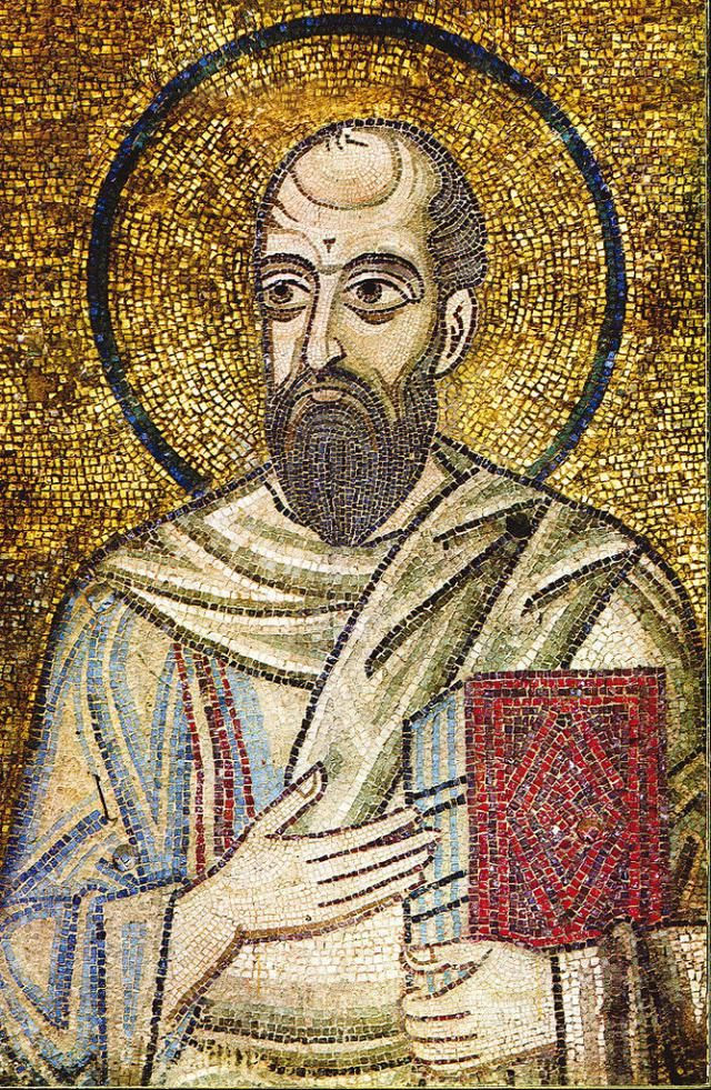 The Apostle Paul's Near-Death Experience in Heaven: A mosaic of the apostle Paul from around the year 1000, St. Sophia of Kyiv