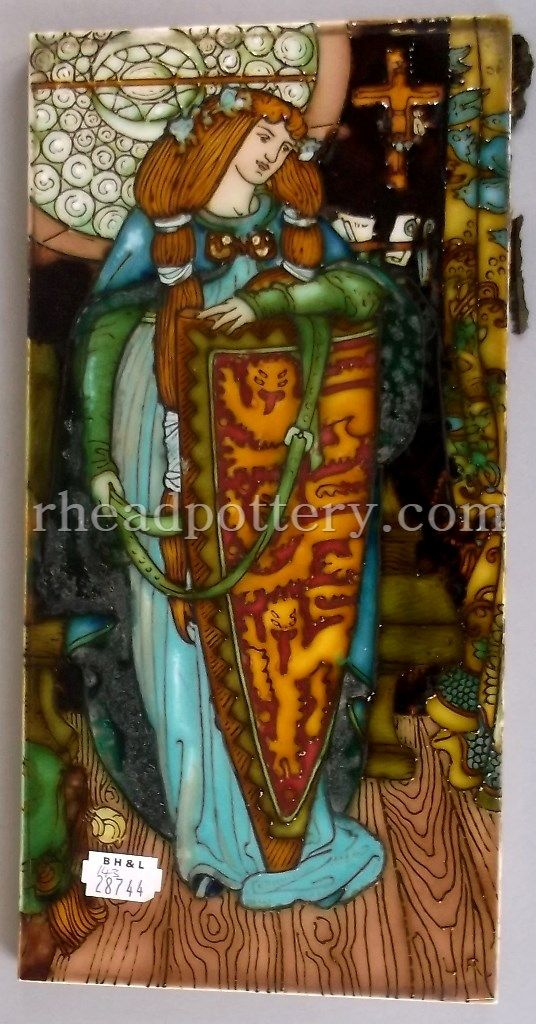 Charlotte Rhead tube-lined tile featuring Elaine, the lily maid of Astolat, from an illustration by GW Rhead, initialled LR, 30 x 15cm - £3,500