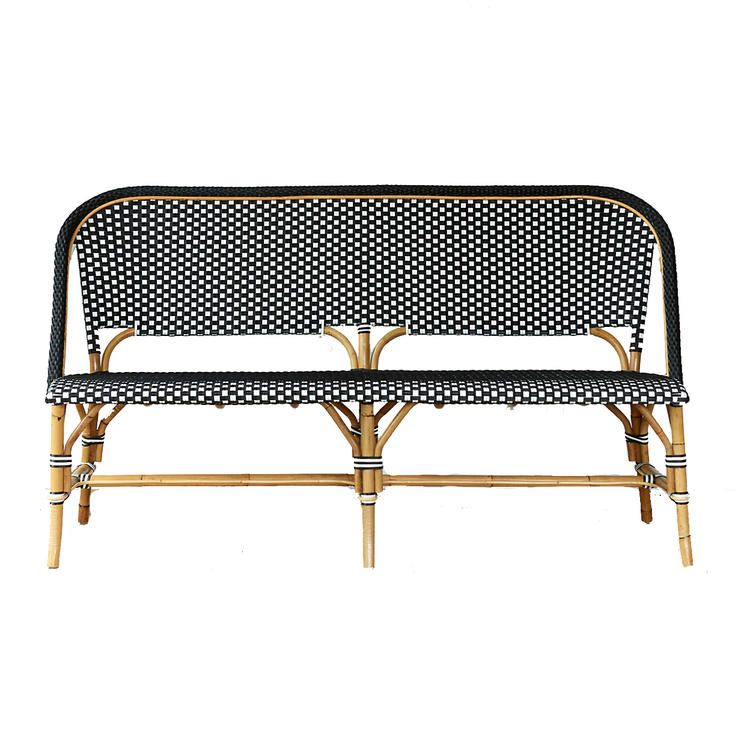 Black And White Bistro Bench   The Best Bamboo And Rattan Furniture For Your