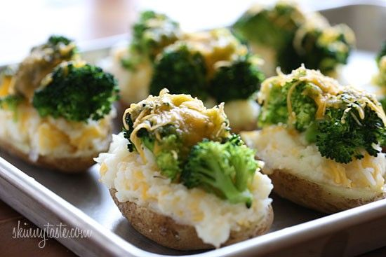 Broccoli and Cheese Twice Baked Potatoes: 2 potatoes, 1 c cooked broccoli,