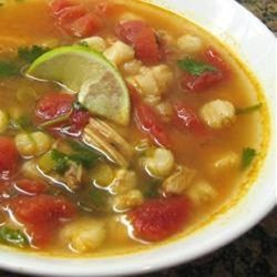 Chicken and Hominy Soup with Lime and Cilantro Recipe