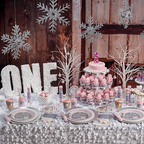 Celebrate Your Daughters First Birthday With Our Pink Winter ONEderland Party Supplies