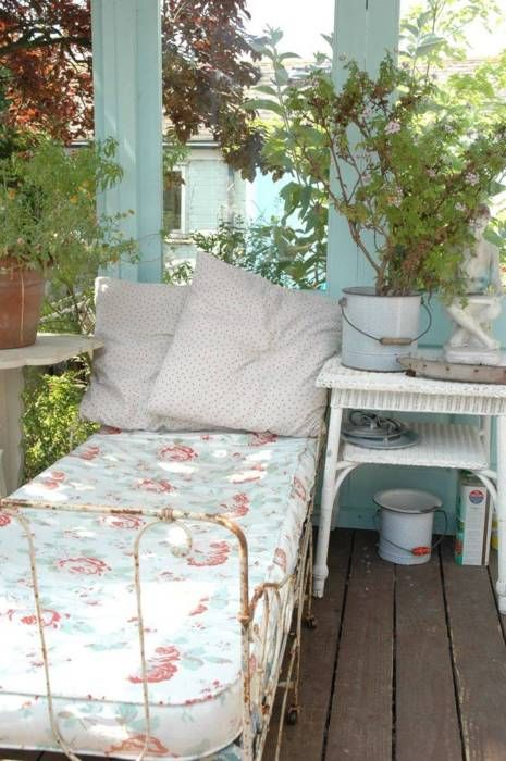 love the plants: Irons Beds, Ideas, Shabby Chic, Sun Porches, Sleep Porches, Naps Time, Back Porches, Places, Front Porches