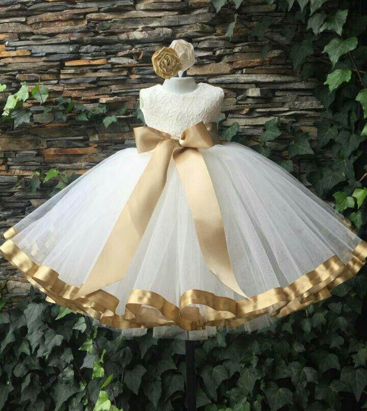 Vestido Tul Blanco Y Dorado Vestidos Blancos Para Niñas