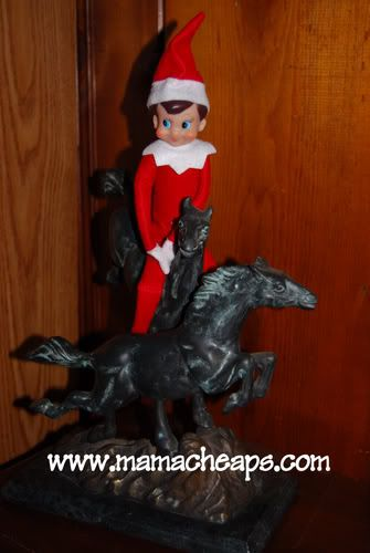 master list: ideas for the elf on the shelf: Shelf Oh, Christmas Elf, Ideas Sound, Shelf Riding, Shelf Ideas, Random Pin, Stuffed Animal, Elf On The Shelf, Shelf Crafts Ideas