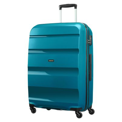 American Tourister 75cm Bon Air Spinner in teal. Take on the world with this super strong case.  www.zelows.com.au