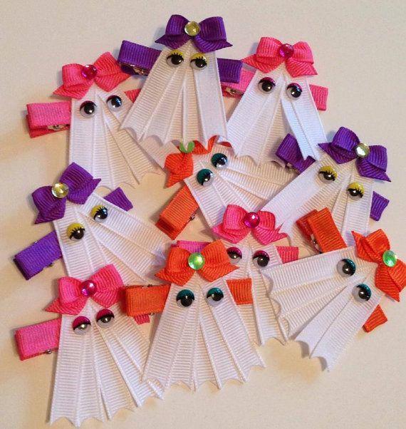Miss Ghost Halloween Ribbon Sculpture Hair Clip by lilsassybugwear