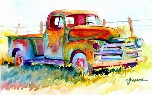 """OLD CHEERY by Mary Shepard Watercolor ~ Image size:  7.5"""" x 11.5"""" unframed"""