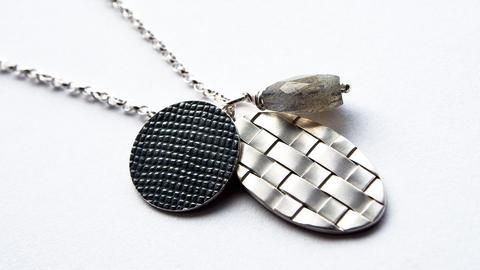 Made By Hand Online - Contrasting Woven Cluster Necklace with Single Labradorite Bead